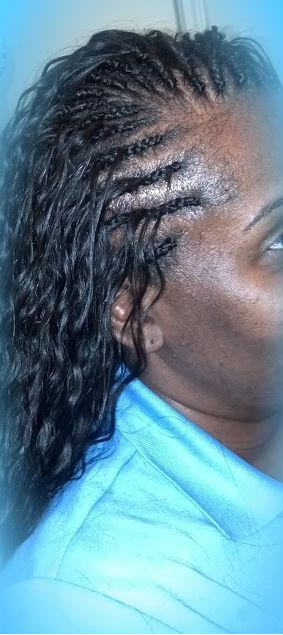Single Layer Regular cornrow tree Braids w/100% human hair water wave (20 in)